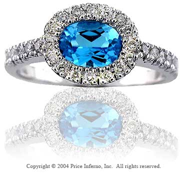 14k White Gold Blue Topaz 0.20 Carat Diamond Statement Ring