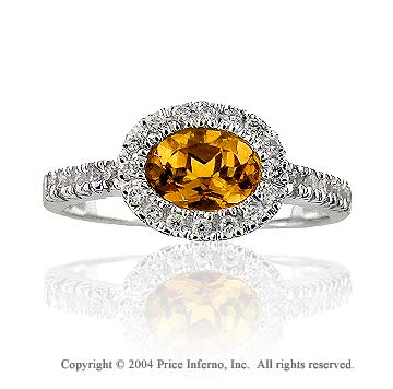 14k White Gold Oval Citrine 0.20 Carat Diamond Statement Ring
