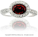 14k White Gold Oval Garnet 0.20 Carat Diamond Statement Ring