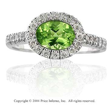 14k White Gold Oval Peridot 0.20 Carat Diamond Statement Ring