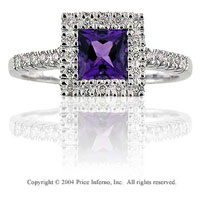 14k White Gold Princess Amethyst Diamond Fashion Ring