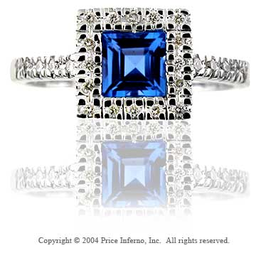14k White Gold Princess Blue Topaz Diamond Fashion Ring