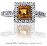 14k White Gold Princess Citrine Diamond Fashion Ring