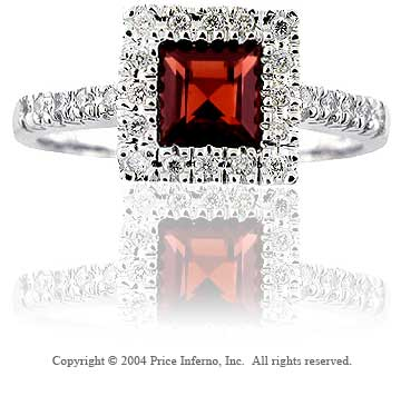 14k White Gold Princess Garnet Diamond Fashion Ring