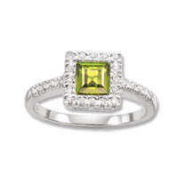 14k 50's Cocktail Diamond Princess Peridot Ring