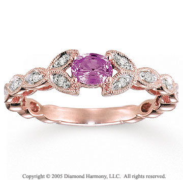 14k Rose Gold Leaf Pink Sapphire Diamond Fashion Ring
