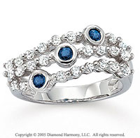 14k White Gold Blue Sapphire 1/2 Carat Diamond Fashion Ring