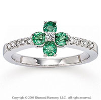 14k White Gold Emerald 1/6 Carat Diamond Fashion Ring