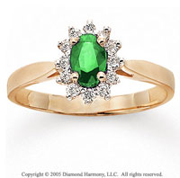 14k Yellow Gold Emerald 0.20 Carat Diamond Fashion Ring