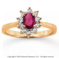 14k Yellow Gold Oval Ruby 1/4 Carat Diamond Fashion Ring