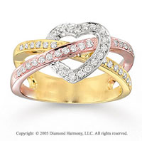 14k Tri Tone Gold Heart 0.40 Carat Diamond Fashion Ring