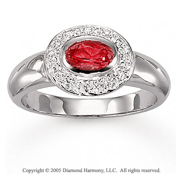 14k White Gold Pave Diamond Oval Ruby Fashion Ring