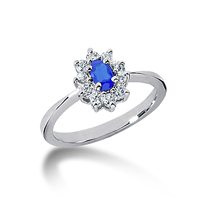 14k White Gold Oval 5x3 Blue Sapphire and 1/4 Carat Diamond Lady Di - Princess Diana Style Ring