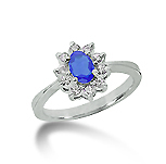 14k White Gold Oval 6x4 Blue Sapphire and 1/3 Carat Diamond Lady Di - Princess Diana Style Ring