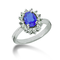 14k White Gold Oval 8x6 Blue Sapphire and 1/2 Carat Diamond Lady Di - Princess Diana Style Ring