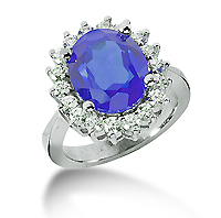 14k White Gold Oval 12x10 Blue Sapphire and 1.00 Carat Diamond Lady Di - Princess Diana Style Ring