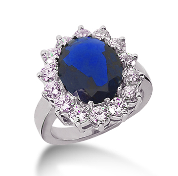 14k White Gold Oval 12x10 Blue Sapphire and 1 1/2 Carat Diamond Lady Di - Princess Diana Style Ring