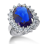 14k White Gold Oval 14x12 Blue Sapphire and 1 3/5 Carat Diamond Lady Di - Princess Diana Style Ring