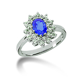 14k White Gold Oval 7x5 Blue Sapphire and 1/2 Carat Diamond Lady Di - Princess Diana Style Ring