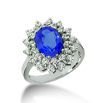 14k White Gold Oval 9x7 Blue Sapphire and 1 Carat Diamond Lady Di - Princess Diana Style Ring