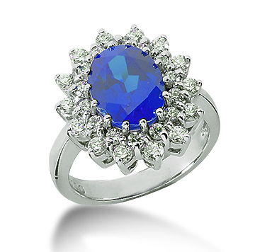 14k White Gold Oval 10x8 Blue Sapphire and 1 Carat Diamond Lady Di - Princess Diana Style Ring