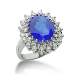 14k White Gold Oval 12x10 Blue Sapphire and 1 1/4 Carat Diamond Lady Di - Princess Diana Style Ring
