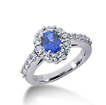 14k White Gold Oval 7x5 Blue Sapphire and 1 Carat Diamond Lady Di - Princess Diana Style Ring