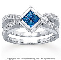 14k White Gold Princess Blue Sapphire Diamond Fashion Ring