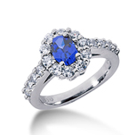 14k White Gold Oval 8x6 Blue Sapphire and 1 Carat Diamond Lady Di - Princess Diana Style Ring