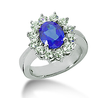 14k White Gold Oval 9x7 Blue Sapphire and 1 1/4 Carat Diamond Lady Di - Princess Diana Style Ring