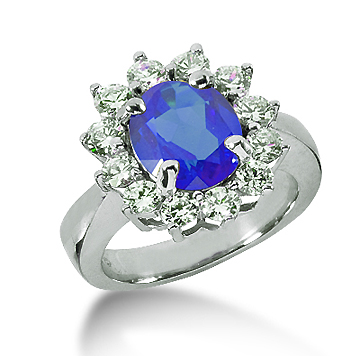 14k White Gold Oval 10x8 Blue Sapphire and 1 1/4 Carat Diamond Lady Di - Princess Diana Style Ring