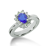 14k White Gold Oval 7x5 Blue Sapphire and 1/3 Carat Diamond Lady Di - Princess Diana Style Ring