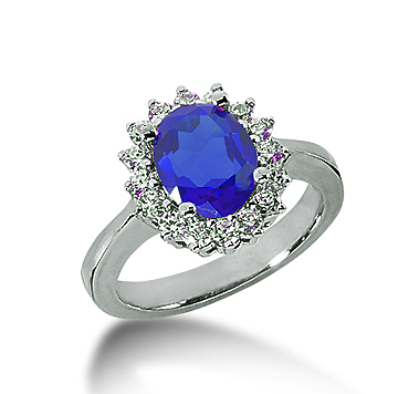 14k White Gold Oval 9x7 Blue Sapphire and 1/2 Carat Diamond Lady Di - Princess Diana Style Ring