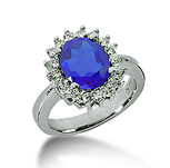 14k White Gold Oval 10x8 Blue Sapphire and 1/2 Carat Diamond Lady Di - Princess Diana Style Ring