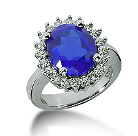 14k White Gold Oval 12x10 Blue Sapphire and 3/5 Carat Diamond Lady Di - Princess Diana Style Ring