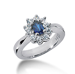 14k White Gold Oval 6x4 Blue Sapphire and 1/2 Carat Diamond Lady Di - Princess Diana Style Ring