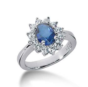 14k White Gold Oval 8x6 Blue Sapphire and 3/5 Carat Diamond Lady Di - Princess Diana Style Ring