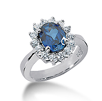 14k White Gold Oval 9x7 Blue Sapphire and 3/4 Carat Diamond Lady Di - Princess Diana Style Ring