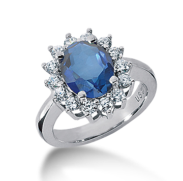 14k White Gold Oval 10x8 Blue Sapphire and 3/4 Carat Diamond Lady Di - Princess Diana Style Ring