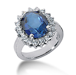 14k White Gold Oval 12x10 Blue Sapphire and 1 Carat Diamond Lady Di - Princess Diana Style Ring