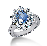 14k White Gold Oval 9x7 Blue Sapphire and 1 1/2 Carat Diamond Lady Di - Princess Diana Style Ring