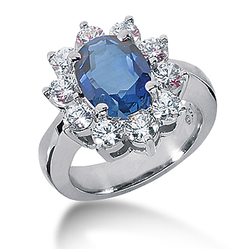 14k White Gold Oval 10x8 Blue Sapphire and 1 1/2 Carat Diamond Lady Di - Princess Diana Style Ring