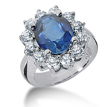 14k White Gold Oval 12x10 Blue Sapphire and 1 3/4 Carat Diamond Lady Di - Princess Diana Style Ring