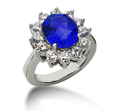 14k White Gold Oval 11x9 Blue Sapphire and 1 1/2 Carat Diamond Lady Di - Princess Diana Style Ring