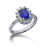 14k White Gold Oval 8x6 Blue Sapphire and 1/3 Carat Diamond Lady Di - Princess Diana Style Ring
