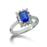 14k White Gold Emerald 6x4 Blue Sapphire and 1/2 Carat Diamond Lady Di - Princess Diana Style Ring