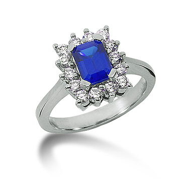 14k White Gold Emerald 7x5 Blue Sapphire and 1/2 Carat Diamond Lady Di - Princess Diana Style Ring
