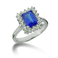 14k White Gold Emerald 8x6 Blue Sapphire and 1/2 Carat Diamond Lady Di - Princess Diana Style Ring