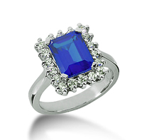 14k White Gold Emerald 9x7 Blue Sapphire and 1/2 Carat Diamond Lady Di - Princess Diana Style Ring