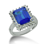 14k White Gold Emerald 10x8 Blue Sapphire and 2/3 Carat Diamond Lady Di - Princess Diana Style Ring